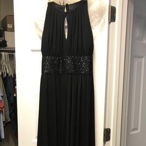 Black halter evening gown